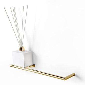 3SC Guy Полотенцедержатель и ароматический диффузор слева, подвесной, композит Solid Surface, цвет: белый матовый/золото 24к. Lucido