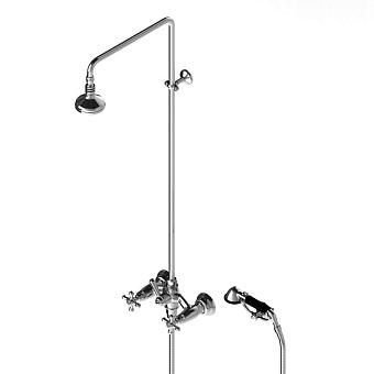 Stella Roma Душевой комплект 3284/301/314A-90: смеситель, штанга+ручной+верхний душ 90мм, цвет: хром