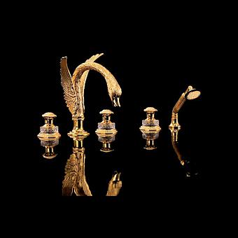 Devon&Devon Excelsior Swan Смеситель для ванны на пять отверстий, цвет: золото 24к