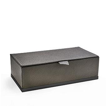 3SC Milano Коробочка универсальная, 25х13хh8см, с крышкой, настольная, цвет: коричневая эко-кожа/черный матовый