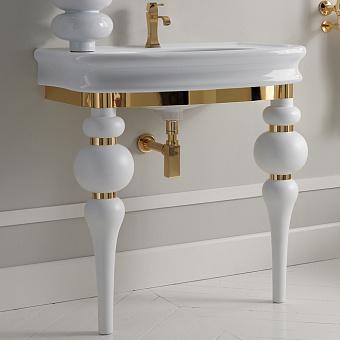 3SC VIA VENETO Консоль с раковиной LANTE 90 см, в комплекте с сифоном, цвет: белый глянец/золото 24к.