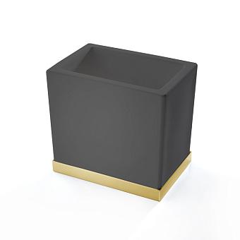 3SC Mood Deluxe Black Стакан настольный, композит Solid Surface, цвет: чёрный матовый/золото 24к.