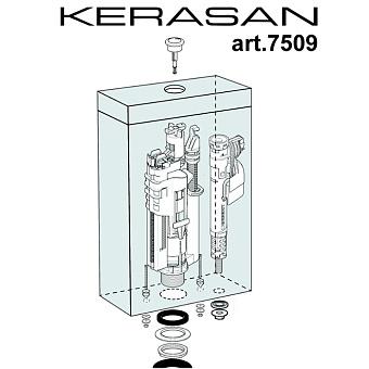 Kerasan Retro Механизм двойного слива с нижним подводом воды, цвет кнопки: бронза