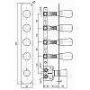 Zucchetti Nude Встроенный термостатический смеситель с 4 запорными клапанами, цвет: хром