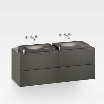 Armani Roca Baia Тумба подвесная с 2 раковинами, 155х59х61см с 4 ящиками, со столешницей, цвет: черный