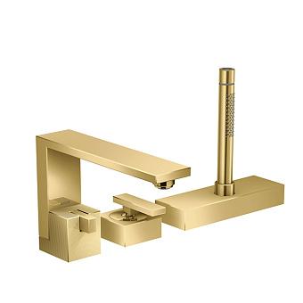 Axor Edge Смеситель на борт ванны, на 3 отв., с ручным душем, излив 210мм, алмазная огранка, цвет: золото