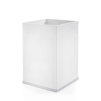 3SC Mood Deluxe White Ведро, без крышки, 20х30х20 см, композит Solid Surface, цвет: белый матовый/хром