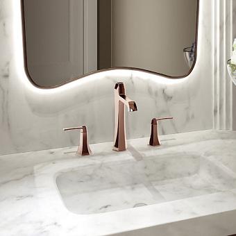 CISAL Cherie Смеситель для раковины на 3 отверстия с донным клапаном, цвет золото розовое