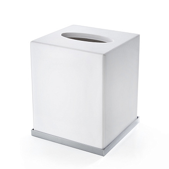 3SC Mood Deluxe White Контейнер для бумажных салфеток, 12х12х14 см, квадратный, настольный, композит Solid Surface, цвет: белый матовый/хром