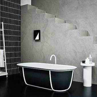 Agape Cuna Ванна отдельностоящая 165x78.5x52 см, с черной металлической структурой, цвет: белый/темно-серый