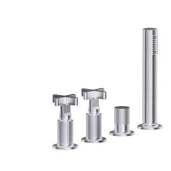 Gessi Inciso Смеситель для ванны на 4 отверстия для наполнения через слив-перелив, переключатель, с ручным душем, цвет: finox