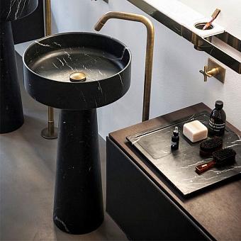 Agape Bjhon Раковина 47х47х90 см, без отв., напольная, мрамор Marquina, цвет: черный