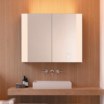 Burgbad RL40 Зеркальный шкаф 120х15х80см., 2 зерк. дверь с обоих сторон, 4 стеклянные полки,подсветка, Smart-Home-System, 2 розетки