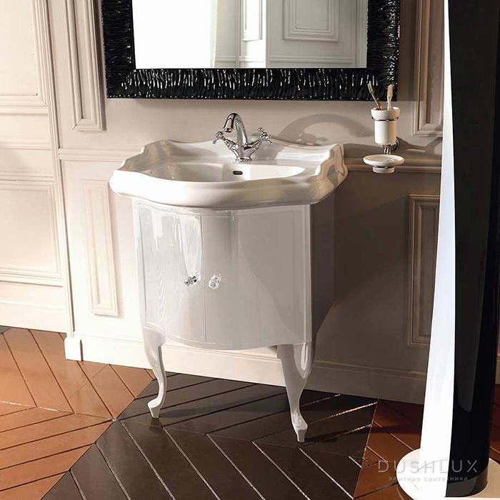 KERASAN Retro Комплект мебели, с ручкой кристалом (кольцо: хром), 69см, Цвет: bianco (белый глянец).