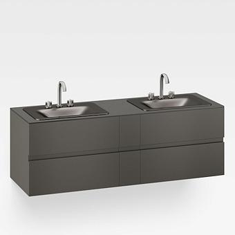 Armani Roca Baia Тумба подвесная с 2 раковинами, 179.4х59х61см с 4 ящиками, со столешницей, цвет: черный