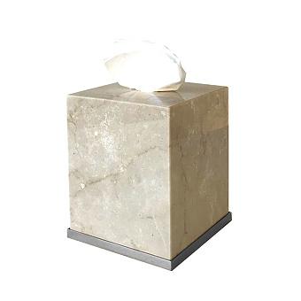 3SC Elegance Контейнер для салфеток 13х13хh15см, цвет: мрамор botticino/хром