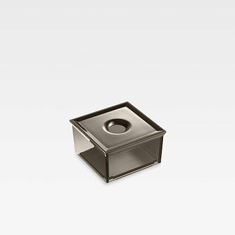 Armani Roca Island Квадратный контейнер с крышкой для установки на полочки из профиля или мебель (полупрозрачный)., цвет: