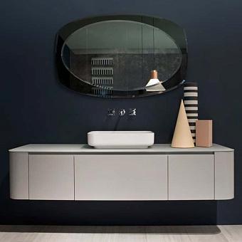 Antonio Lupi ILBagno Комплект мебели: тумба подвесная с раковиной 180x54см, цвет: Grey smog opaco, зеркало цвет: Fume и смеситель, цвет: хром