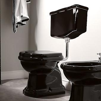 KERASAN Retro Унитаз напольный приставной слив в пол, цвет черный глянцевый с низким бачком, фурнитурой цвета хром