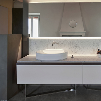 Agape Lariana Раковина накладная, 64.9x46.9x13 см, без отв., мрамор Carrara, цвет: белый