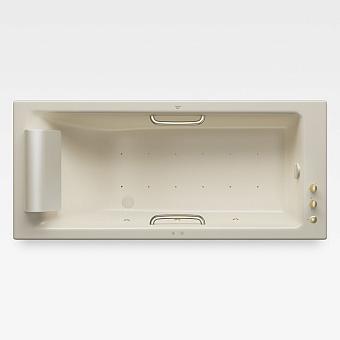 Armani Roca Island Встраиваемая ванна 180х80см а/мас. хромотер. термостат руч. душ, Hide-Flow, ручки, мягкий подголовник, цвет: greige