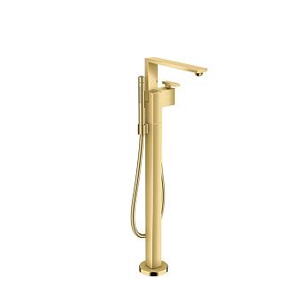 Axor Edge Смеситель для ванны, напольный, с ручным душем, излив 255мм, цвет: золото