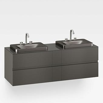 Armani Roca Baia Тумба подвесная с 2 раковинами, 180х59х61см с 4 ящиками, со столешницей, цвет:  черный