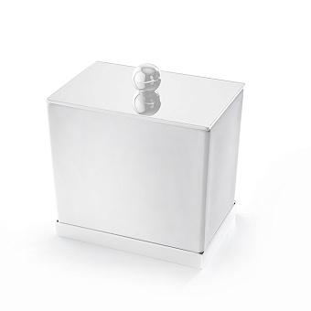 3SC Mood Deluxe Баночка универсальная, 10х10х7 см, с крышкой, настольная, композит Solid Surface, цвет: белый матовый/белый матовый