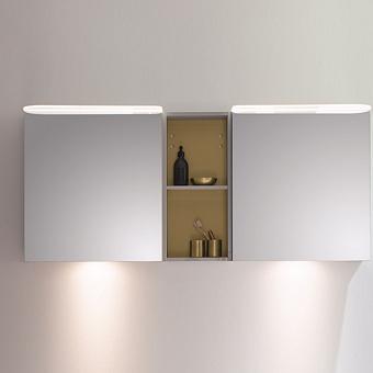 BurgBad Badu Зеркальный шкаф 150х31х66.5см, 2 светильника,2 выкл, 2 зерк двери, стойка с 1 полкой, стекл полки, цвет: серый