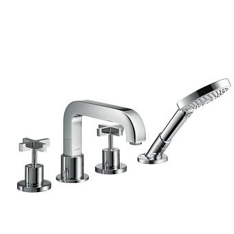 Axor Citterio, смеситель для ванны, ручки крестом в щитке, на 4 отв. цвет: хром