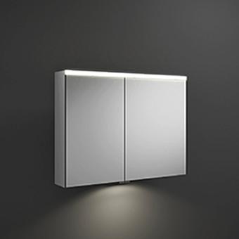 BURGBAD Iveo  Зеркальный шкаф с подсветкой , 908х680х160 мм,свет. 1 выкл. стекл полки, 2 зеркальн двери с обеих сторон, зеркальная поверхность