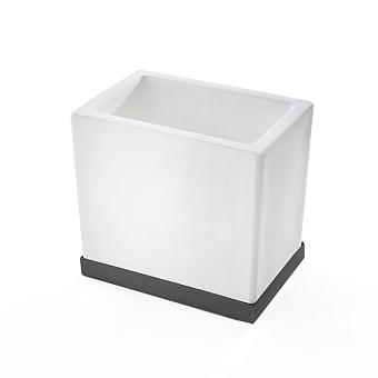 3SC Mood Deluxe Стакан настольный, композит Solid Surface, цвет: белый матовый/черный матовый