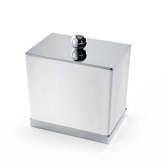 3SC Mood Deluxe White Баночка универсальная, 10х10х7 см, с крышкой, настольная, композит Solid Surface, цвет: белый матовый/хром