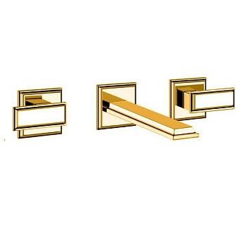 Gessi Eleganza Встраиваемый смеситель для раковины на 3 отверстия, без донного клапана, с изливом, цвет: золото
