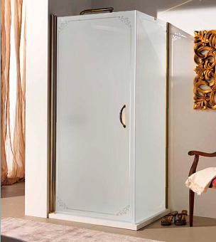 SAMO FDT Душевая дверь (монтируется с аналогичной дверью или боков стеной), проф. бронза, матовое стекло+декор TREVI, ручка бронза, 86-88х190см