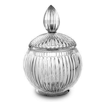 3SC Elegance Баночка универсальная, D=15/h20 см, с крышкой, настольная, цвет: прозрачный хрусталь/хром