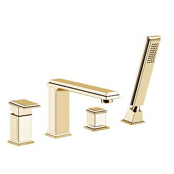 Gessi Eleganza Смеситель для ванны на 4 отверстия, с переключателем, изливом и ручным душем, цвет: шлифованное золото