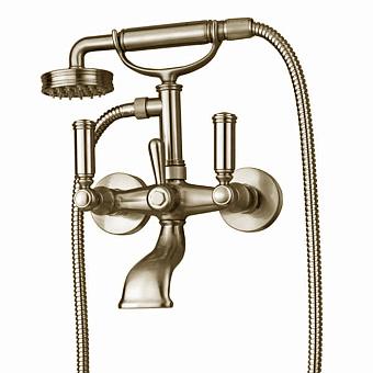 Bossini Liberty Смеситель наружный для ванной с переключателем, лейка LIBERTYцвет:GOM, шланг из латуни дв. фальцевания 150 см, цвет: никель матовый