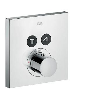 Axor ShowerSelect Термостатический смеситель с двумя запорными клапанами, квадратный, цвет: хром