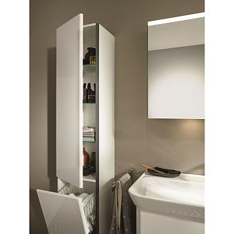 Burgbad Iveo Пенал 176х32х35 см, 1 дверь, петли слева, 1 ящик для белья, 3 полки стекл., 1 полка несъемная, ручка глянец белый G0161, цвет: F2833