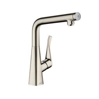 Hansgrohe Metris Select Смеситель для кухни, однорычажный, на 1 отв., цвет: сталь