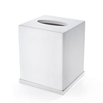 3SC Mood Deluxe Контейнер для бумажных салфеток, 12х12х14 см, квадратный, настольный, композит Solid Surface, цвет: белый матовый/белый матовый