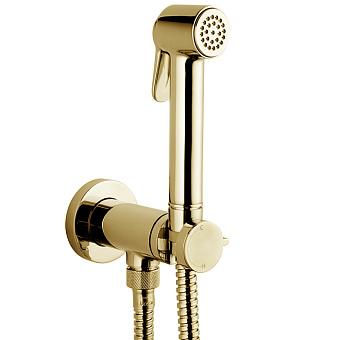 Bossini Paloma Гигиенический душ с прогрессивным смесителем, лейка металлическая, шланг металлический, цвет: золото