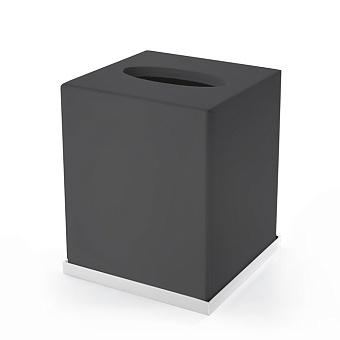 3SC Mood Deluxe Контейнер для бумажных салфеток, 24х7х13 см, прямоугольный, настольный, композит Solid Surface, цвет: чёрный матовый/белый матовый