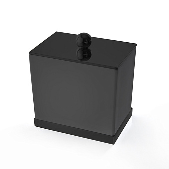 3SC Mood Deluxe Баночка универсальная, 10х10х7 см, с крышкой, настольная, композит Solid Surface, цвет: чёрный матовый/черный матовый