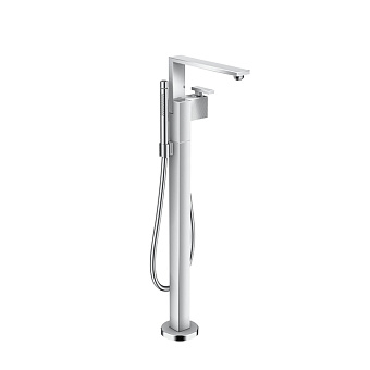 Axor Edge Смеситель для ванны, напольный, с ручным душем, излив 255мм, алмазная огранка, цвет: хром