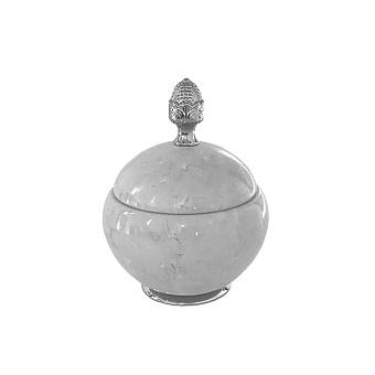 3SC Elegance Баночка универсальная, D=15/h18 см, с крышкой, настольная, цвет: мрамор botticino/хром