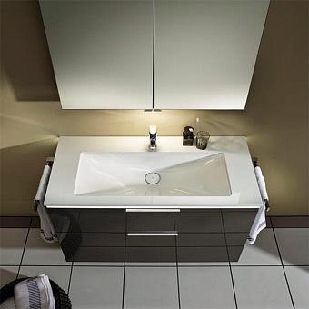 BURGBAD Eqio  Комплект мебели 120см,база подвесная с керам.умыв. ящика с ручкой желоб., c 1отв под смес. вкл сифон, цвет: серый глянец