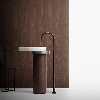 Falper Eccentrico Раковина 63x56x90 см, без отв., напольная, мраморная Carrara, полотенцедержатель нержавеющая сталь, цвет: коричневый орех