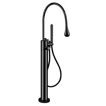 Gessi Goccia Напольный термостатический смеситель для ванны с ручным душем (внешняя часть), цвет: черный